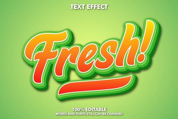 Редактируемый эффект свежего текста, типографика с фруктовой темой