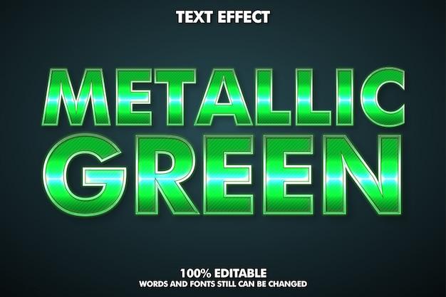 Редактируемый текстовый эффект, металлический зеленый текстовый стиль