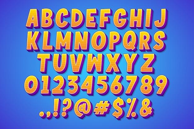 Набор мультяшного комического шрифта