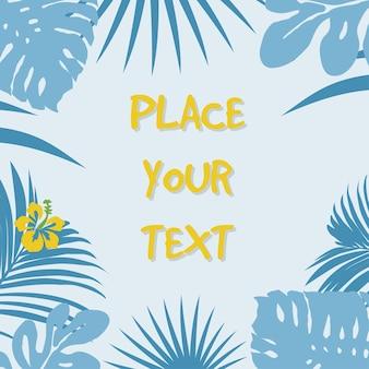 Цветочный фон с тропическими синими листьями