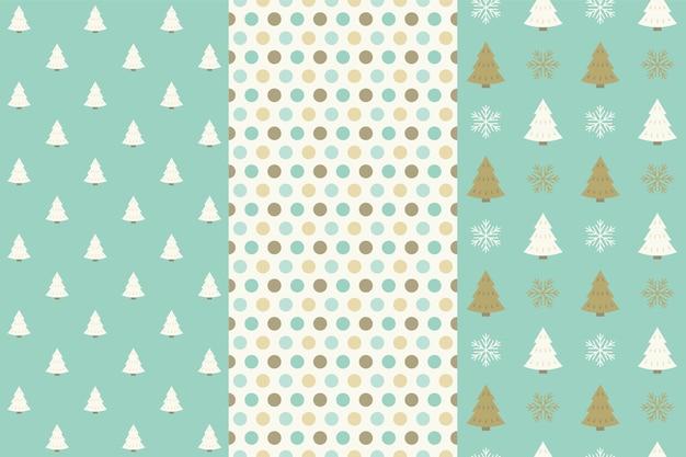 クリスマスシームレスパターン、ドットとクリスマスツリー