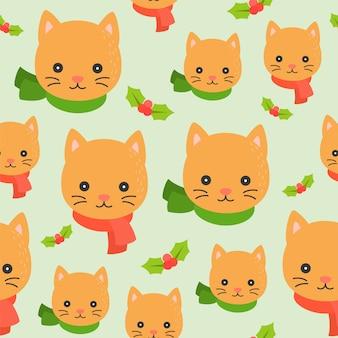 Симпатичные зимние темы котенка, редактируемые линии подробно, рождество бесшовные шаблон темы