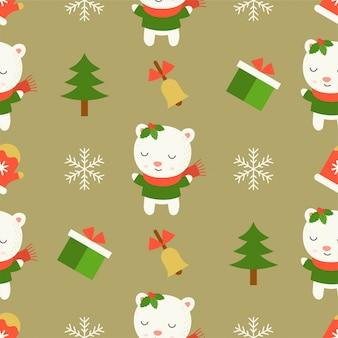 Симпатичный белый медведь, рождественский бесшовный шаблон темы, для использования в качестве обоев и оберточной бумаги