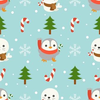 Печать и пингвин, рождественский бесшовный шаблон, для использования в качестве обоев и обертывания