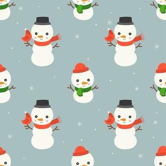Снеговик редактируемые линии подробно, рождество бесшовные шаблон темы, для использования в качестве обоев