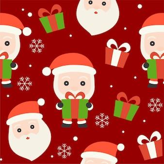 Санта и подарочной коробке, рождественские бесшовные шаблон темы, для использования в качестве обоев и упаковки па