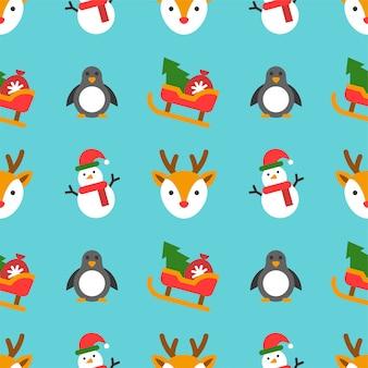 クリスマスシームレスなパターンテーマ、壁紙やラッピング紙のギフトとして使用するため