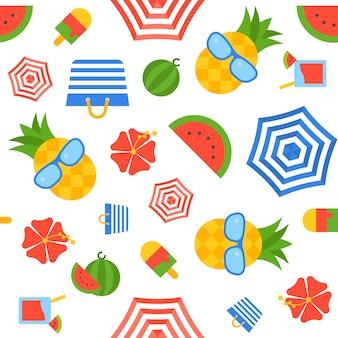 夏のテーマシームレスパターンベクトル