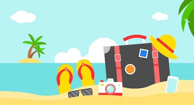 夏休み、夏のビーチのポスターベクトルイラスト