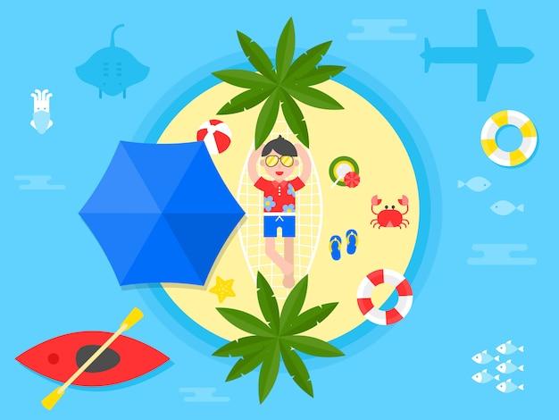 夏休み、夏のビーチのイラスト