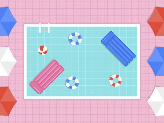 Летний отдых, вид сверху бассейн вектор