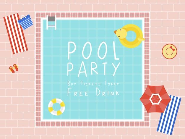 Вечеринка у бассейна, вид сверху бассейн вектор