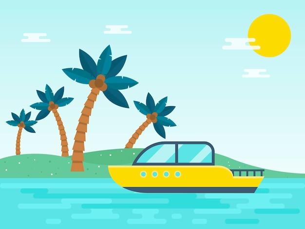 Летний отдых, моторная лодка, путешествующая в море иллюстрация