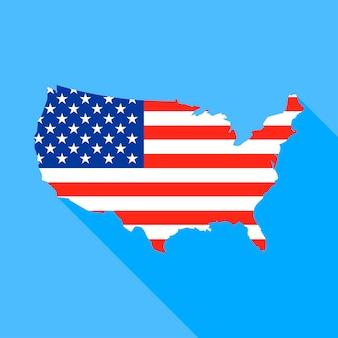 長い影とアメリカ合衆国の地図