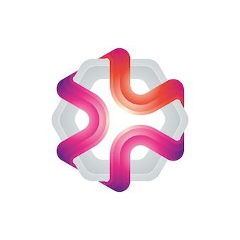Красочный современный логотип с шестигранной основой