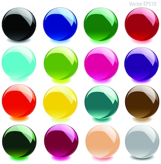 カラフルな光沢のあるガラス玉ベクトル