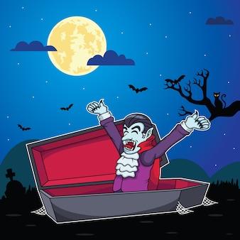 吸血鬼の漫画は夜の背景で目を覚ます