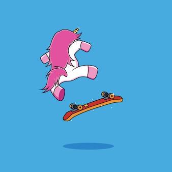 ユニコーン乗馬スケートボードの手描画スタイル