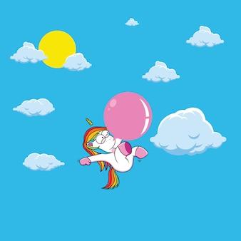 ピンクのガムとかわいいユニコーン漫画