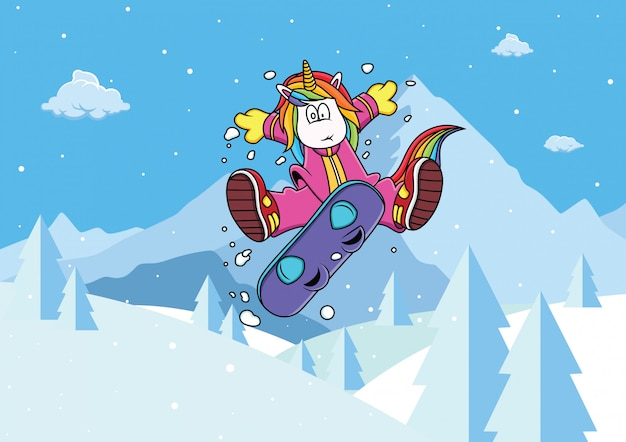 ユニコーンがスノーボードをする