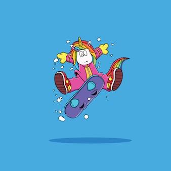 スノーボードをしているユニコーン