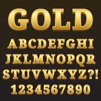 数字とゴールドの光沢のあるスタイルデザインのアルファベット