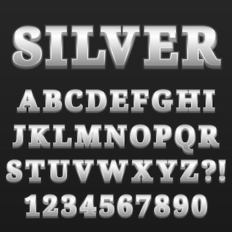 Письмо алфавит с номерами серебряный глянцевый стиль дизайна