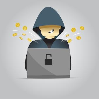 Хакер используя иллюстрацию пк