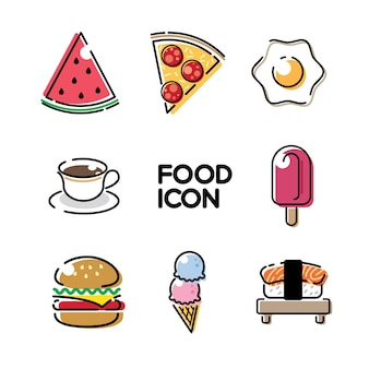 食べ物と飲み物かわいいフラットラインイラストベクターアイコン