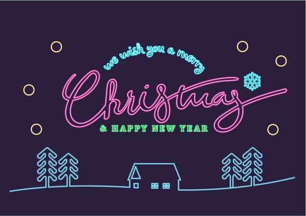 Неоновый веселый рождественский и счастливый дизайн иллюстраций нового года