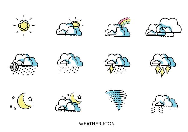 最小線予測天気アイコンベクトル