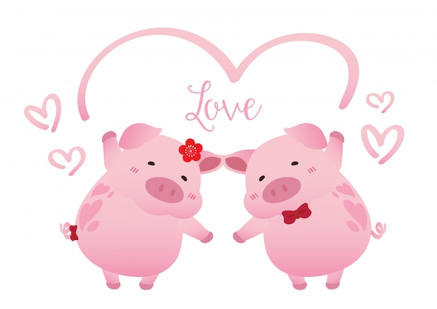 ブタのカップル愛ロマンスバレンタイン