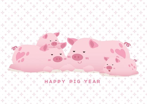 Мирная счастливая свинья