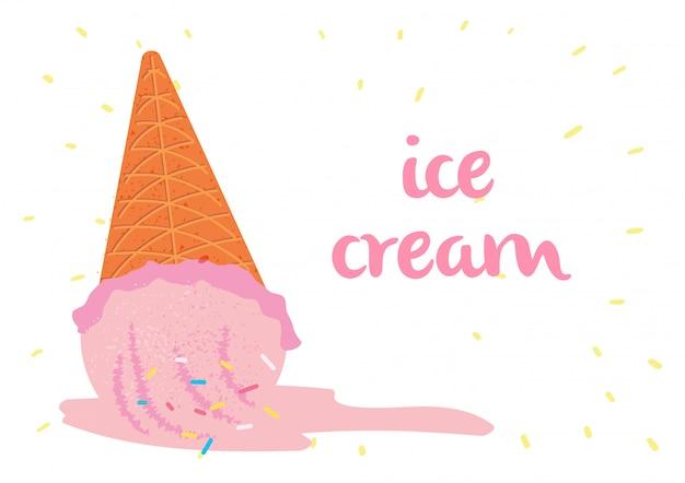 アイスクリーム秋溶解イラストベクトル