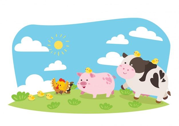 Милый скотный двор; корова, свинья, курица иллюстрация
