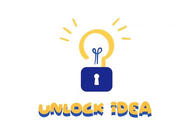 Разблокировать идею творчества символ вектор