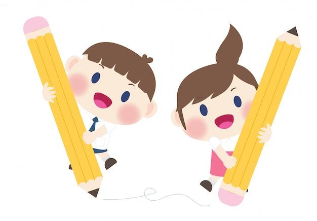 かわいい幸せな小学生が学校のベクトルに戻る