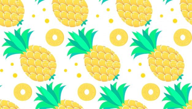 熱帯パイナップルパターンのシームレスな背景