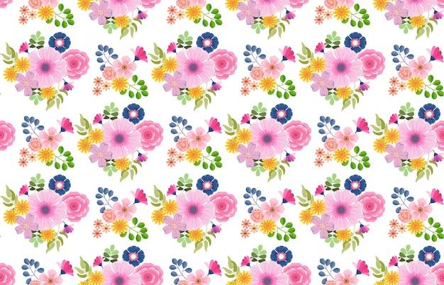 カラフルな花の花咲くパターンのシームレスな背景