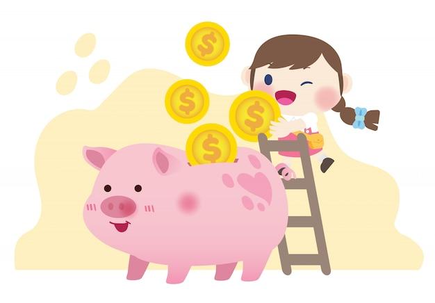 Счастливые милые дети экономят деньги