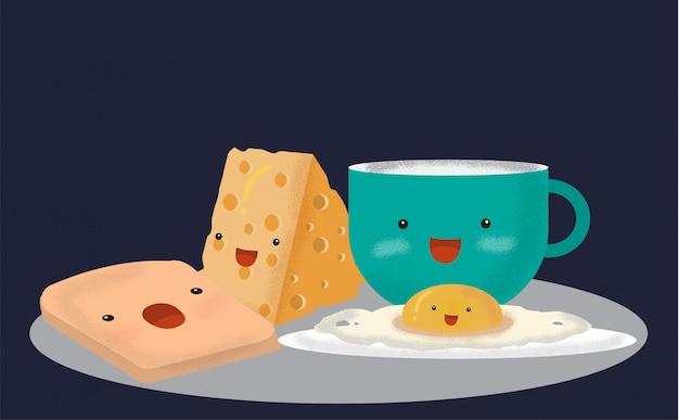 カワイイ目玉焼き、ベーコン、パン。