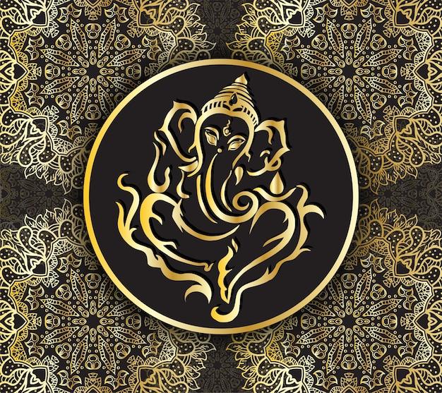 主ガネーシャラインアートモダンデザインのシンボルラグジュアリースタイルガナパティヒンズー教徒神