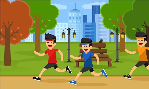 公園でスポーツ人をジョギングする