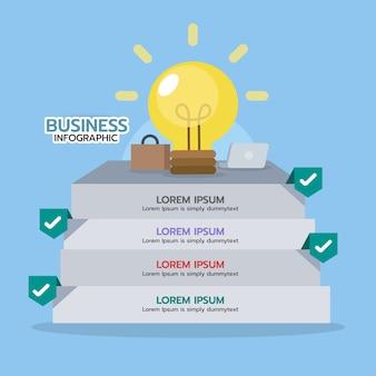 電球でアイデアを得るためのインフォグラフィック・ステップ。ビジネスコンセプト、グラフィック要素。