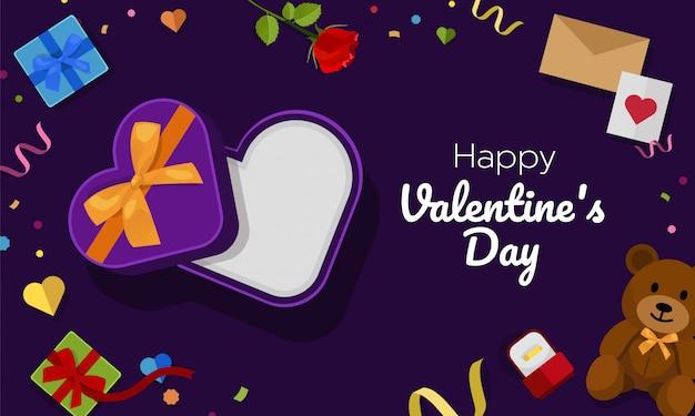 開く紫色の心臓ギフトボックス