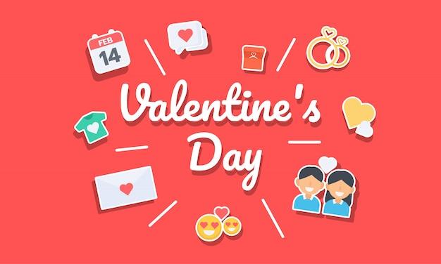 バレンタインデーのアイコンとタイポグラフィのバナー