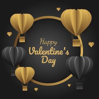 高級バレンタインのバナー、金と黒の風船で円形のベクトルイラスト