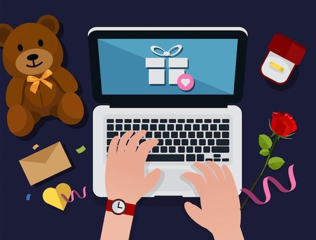 バレンタインのオンラインショッピングのコンセプト