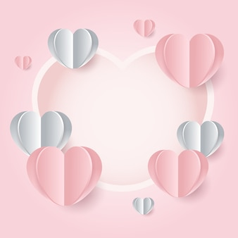 バレンタインデーのピンクフレームの背景