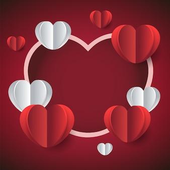 バレンタインデーの赤枠の背景